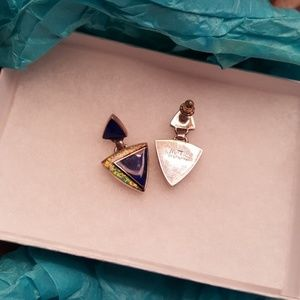 Jewelry - Genuine lapis and fire opal sterling silver signed
